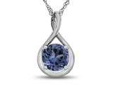 7mm Round Simulated Aquamarine Twist Pendant Necklace style: P8806SIMAQ