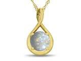 7mm Round Simulated Opal Twist Pendant Necklace style: P8806SIMO10KY