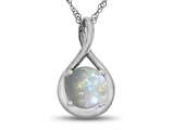 7mm Round Simulated Opal Twist Pendant Necklace style: P8806SIMO