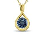 7mm Round Swiss Blue Topaz Twist Pendant Necklace style: P8806SW10KY