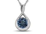 7mm Round Swiss Blue Topaz Twisted Pendant Necklace style: P8806SW