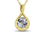 7mm Round White Topaz Twist Pendant Necklace style: P8806WT10KY