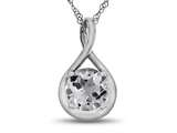 7mm Round White Topaz Twist Pendant Necklace style: P8806WT