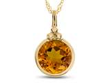 Finejewelers 8mm Round Bezel Set Citrine Pendant Necklace - Chain Included style: P8879C10KY