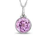 Finejewelers 8mm Round Bezel Set Created Pink Sapphire Pendant Necklace - Chain Included style: P8879CRPS10KW