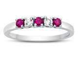 Finejewelers 2.5mm Created Ruby and White Topaz Band / Ring style: R10049MUL16