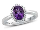10kt White Gold 8x6mm Oval Amethyst with White Topaz accent stones Halo Ring style: R10563SPMUL10KW