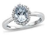10kt White Gold 8x6mm Oval Aquamarine with White Topaz accent stones Halo Ring style: R10563SPMUL110KW