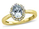 10kt Yellow Gold Oval Aquamarine with White Topaz accent stones Halo Ring style: R10563SPMUL110KY