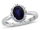 10kt White Gold Oval Created Sapphire with White Topaz accent stones Halo Ring style: R10563SPMUL310KW