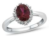10kt White Gold Oval Created Ruby with White Topaz accent stones Halo Ring style: R10563SPMUL410KW