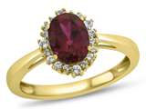 10kt Yellow Gold 8x6mm Oval Created Ruby with White Topaz accent stones Halo Ring style: R10563SPMUL410KY