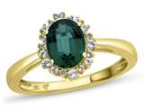 10kt Yellow Gold Oval Created Emerald with White Topaz accent stones Halo Ring style: R10563SPMUL510KY