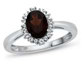 10kt White Gold 8x6mm Oval Garnet with White Topaz accent stones Halo Ring style: R10563SPMUL610KWCD