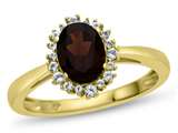 10kt Yellow Gold  8x6mmOval Garnet with White Topaz accent stones Halo Ring style: R10563SPMUL610KY