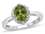 10kt White Gold 8x6mm Oval Peridot with White Topaz accent stones Halo Ring style: R10563SPMUL710KW