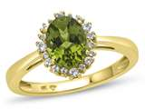 10kt Yellow Gold 8x6mm Oval Peridot with White Topaz accent stones Halo Ring style: R10563SPMUL710KY