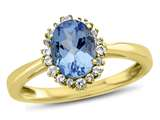 10kt Yellow Gold 8x6mm Oval Swiss Blue Topaz with White Topaz accent stones Halo Ring style: R10563SPMUL810KY