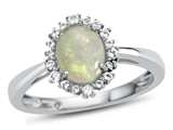 10k White Gold 8x6mm Oval Opal with White Topaz accent stones Halo Ring style: R10563SPMUL910KW