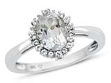 10kt White Gold Oval White Topaz with White Topaz accent stones Halo Ring style: R10563SPWT10KW