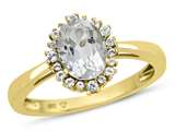10kt Yellow Gold 8x6mm Oval White Topaz with White Topaz accent stones Halo Ring style: R10563SPWT10KY