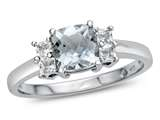 6x6mm Cushion Aquamarine and White Topaz Ring style: R10567SPMUL110KW