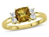 6x6mm Cushion Citrine and White Topaz Ring style: R10567SPMUL210KY