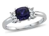 6x6mm Cushion Created Sapphire and White Topaz Ring style: R10567SPMUL310KW
