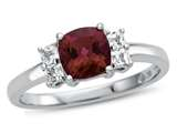 6x6mm Cushion Created Ruby and White Topaz Ring style: R10567SPMUL410KW