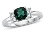 6x6mm Cushion Created Emerald and White Topaz Ring style: R10567SPMUL510KW