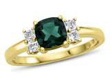 6x6mm Cushion Created Emerald and White Topaz Ring style: R10567SPMUL510KY