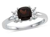 6x6mm Cushion Garnet and White Topaz Ring style: R10567SPMUL610KW