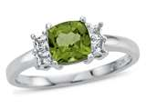 6x6mm Cushion Peridot and White Topaz Ring style: R10567SPMUL710KW