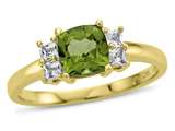6x6mm Cushion Peridot and White Topaz Ring style: R10567SPMUL710KY