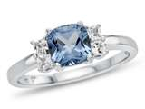 6x6mm Cushion Swiss Blue Topaz and White Topaz Ring style: R10567SPMUL810KW