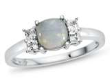 6x6mm Cushion Created Opal and White Topaz Ring style: R10567SPMUL910KW