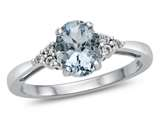 10kt White Gold 8x6mm Oval Aquamarine and White Topaz Ring style: R10678MUL110KW