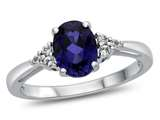 8x6mm Oval Created Sapphire and White Topaz Ring style: R10678MUL210KW