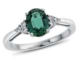 8x6mm Oval Created Emerald and White Topaz Ring style: R10678MUL410KW