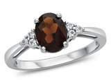 10kt White Gold 8x6mm Oval Garnet and White Topaz Ring style: R10678MUL510KW
