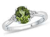 10kt White Gold 8x6mm Oval Peridot and White Topaz Ring style: R10678MUL810KW