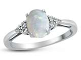 10kt White Gold 8x6mm Oval Created Opal and White Topaz Ring style: R10678MUL910KW