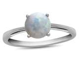 10k White Gold 7mm Round Created Opal Ring style: R1078202