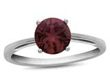 10k White Gold 7mm Round Created Ruby Ring style: R1078204
