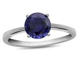 10k White Gold 7mm Round Created Sapphire Ring style: R1078205