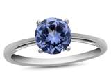 10k White Gold 7mm Round Simulated Aquamarine Ring style: R1078210