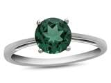 10k White Gold 7mm Round Simulated Emerald Ring style: R1078211