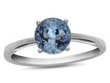 10k White Gold 7mm Round Swiss Blue Topaz Ring style: R1078212