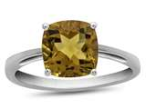 10k White Gold 7mm Cushion Citrine Ring style: R1078301