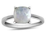 10k White Gold 7mm Cushion Created Opal Ring style: R1078302